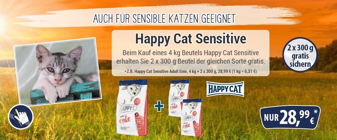 Happy Cat Sensitive Adult Ente 4 kg + 2 x 300 g gratis