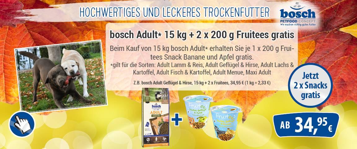 bosch Dog Adult Geflügel & Hirse 15 kg + 2 * 200 g Frutiees Snacks gratis