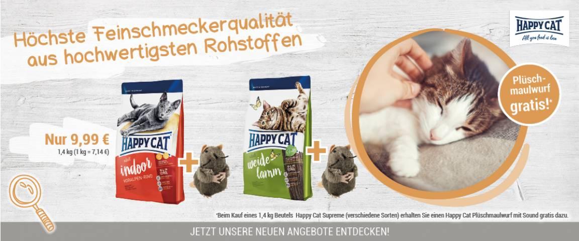 Happy Cat Supreme Indoor Voralpen-Rind 1,4 kg + Plüschmaulwurf gratis