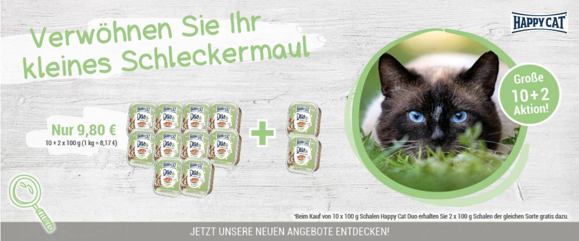 Happy Cat Duo Geflügel & Lamm 100 g Schale - 10 + 2 Aktion