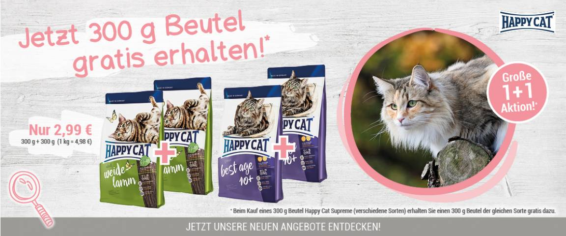Happy Cat Supreme Atlantik-Lachs 300 g - 1 + 1 Aktion