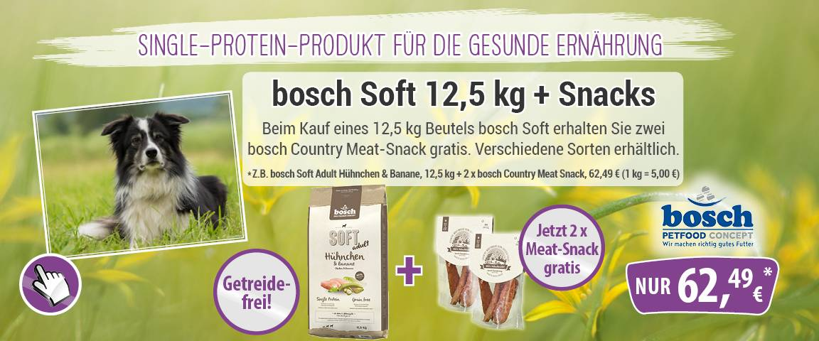 bosch Soft Adult Hühnchen & Banane 12,5 kg + 2 x 80 g bosch Country Meat-Snack Hühnchenfilet