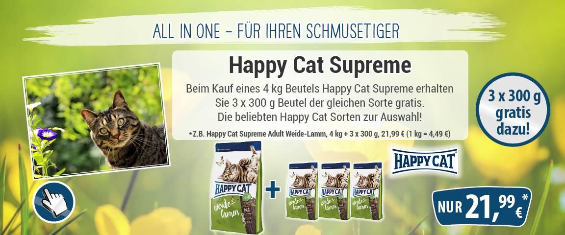 Happy Cat Supreme Adult Weide-Lamm 4 kg + 3 x 300 g gratis