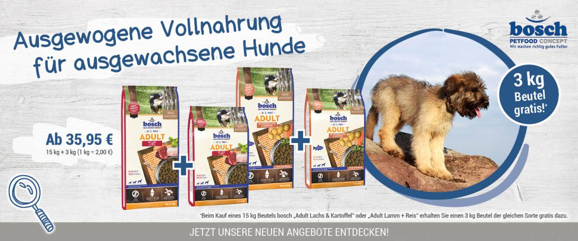 Bosch Dog Adult Lamm + Reis 15 kg + 3 kg gratis