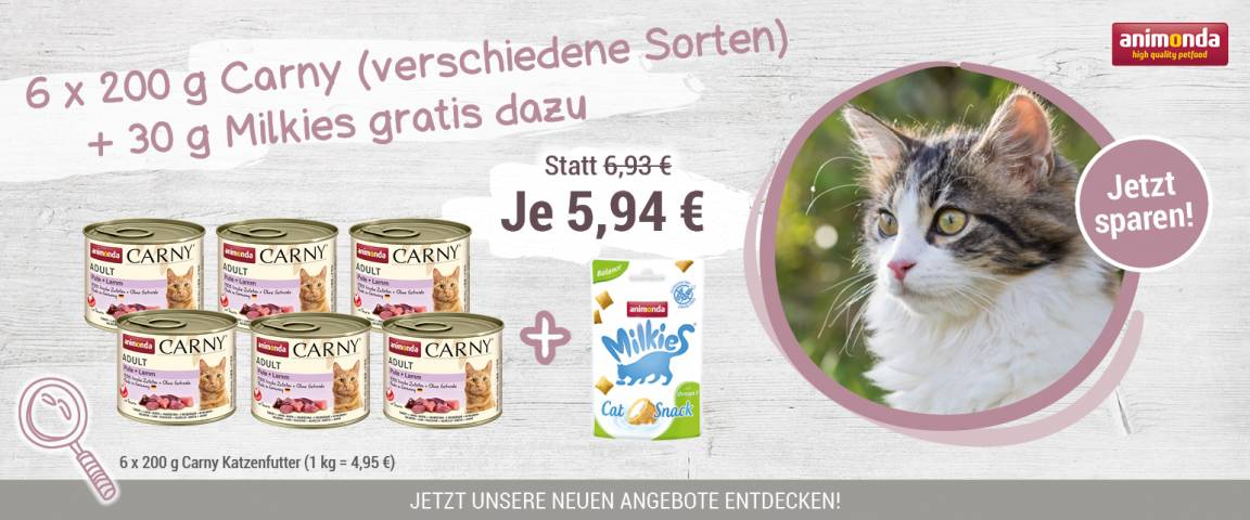 Animonda Cat Dose Carny Kitten Baby-Paté 6 x 200 g + Milkies Balance 30 g gratis
