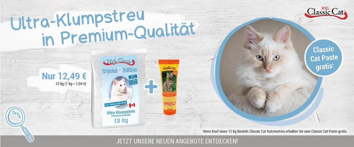 Classic Cat Katzenstreu High Crystal 12kg + 100g Vitamin Paste gratis