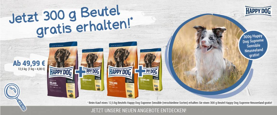 Happy Dog Supreme Sensible Irland 12,5 kg + Neuseeland 300 g