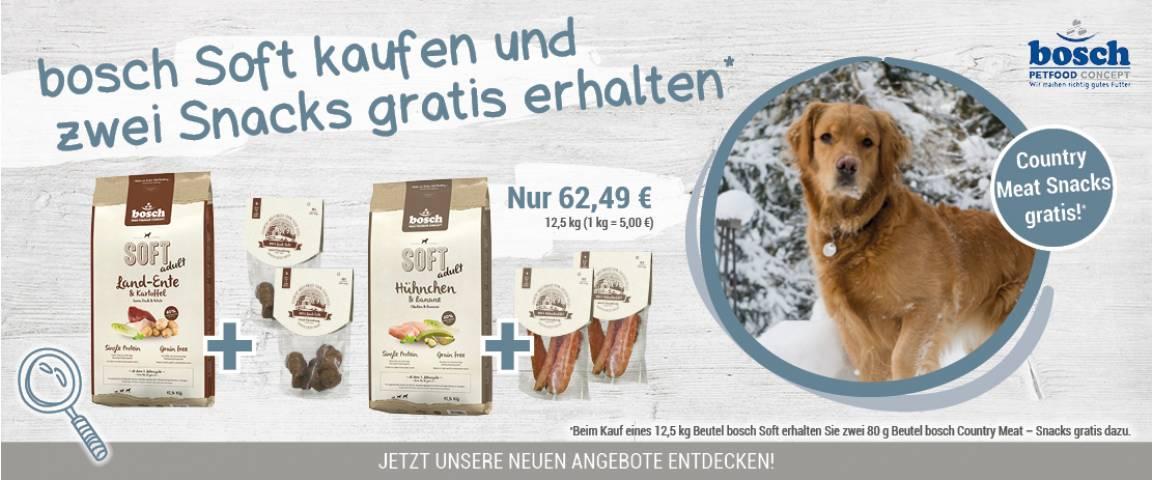 bosch Soft Hühnchen & Banane 12,5 kg + 2 x Country Meat – Snacks Hühnchenfilet  80 g gratis