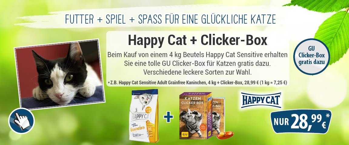 Happy Cat Sensitive Grainfree Kaninchen 4 kg + Happy Cat GU Clicker Box für Katzen
