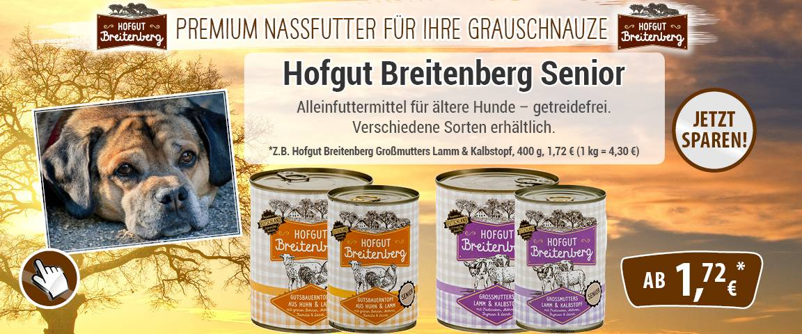 Hofgut Breitenberg für Seniorhunde - 25 % Aktionsrabatt