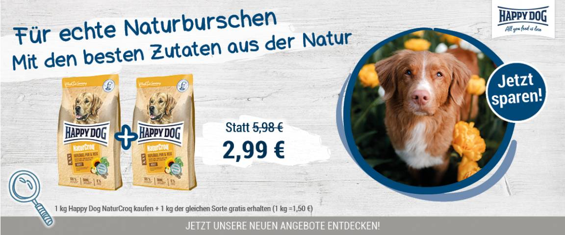 Happy Dog NaturCroq Geflügel pur + Reis 1 kg + 1 kg gratis