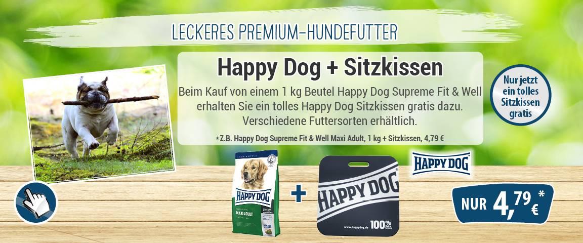 Happy Dog Fit & Well Maxi Adult 1 kg + Happy Dog Sitzkissen gratis