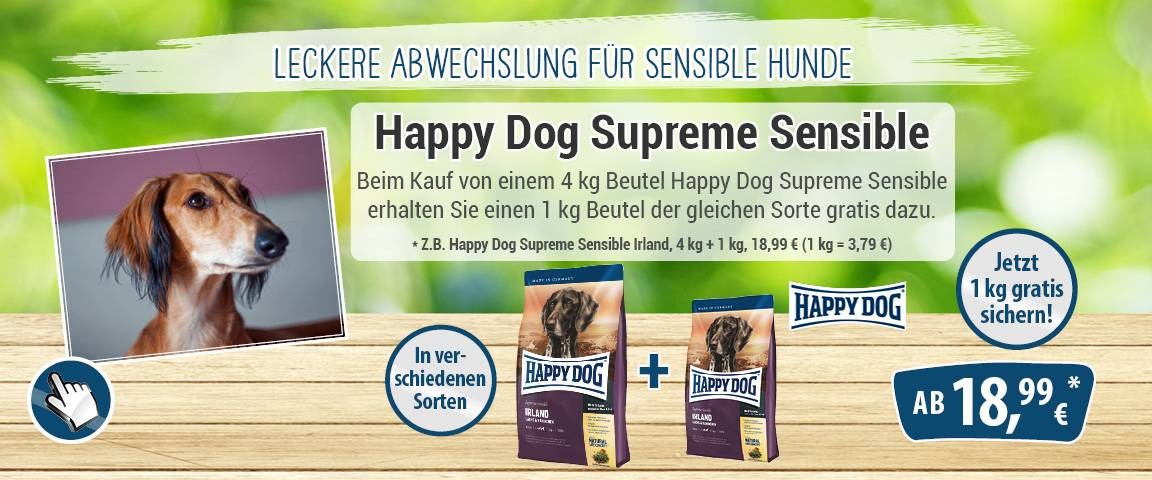 Happy Dog Supreme Sensible Irland 4 kg + 1 kg gratis