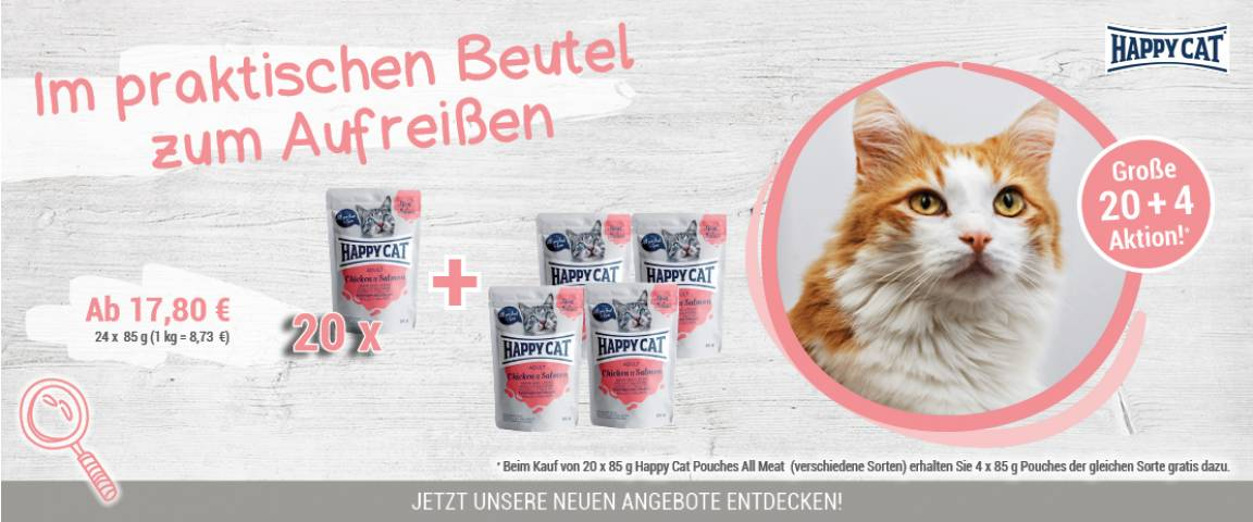 Happy Cat Pouches Meat in Sauce Adult Huhn & Lachs 85 g - 20 + 4 Aktion