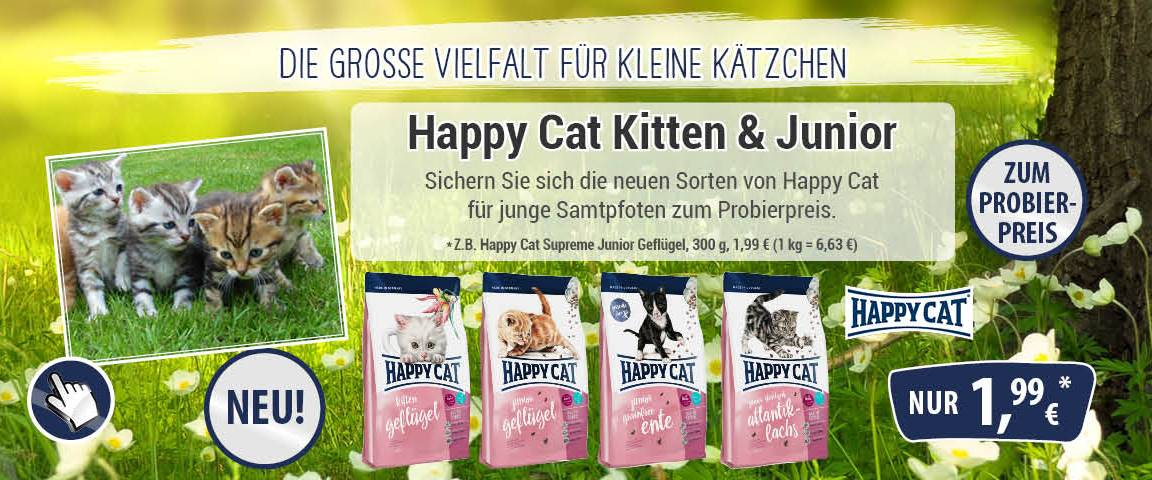 Happy Cat Kitten & Junior 300 g zum Probierpreis