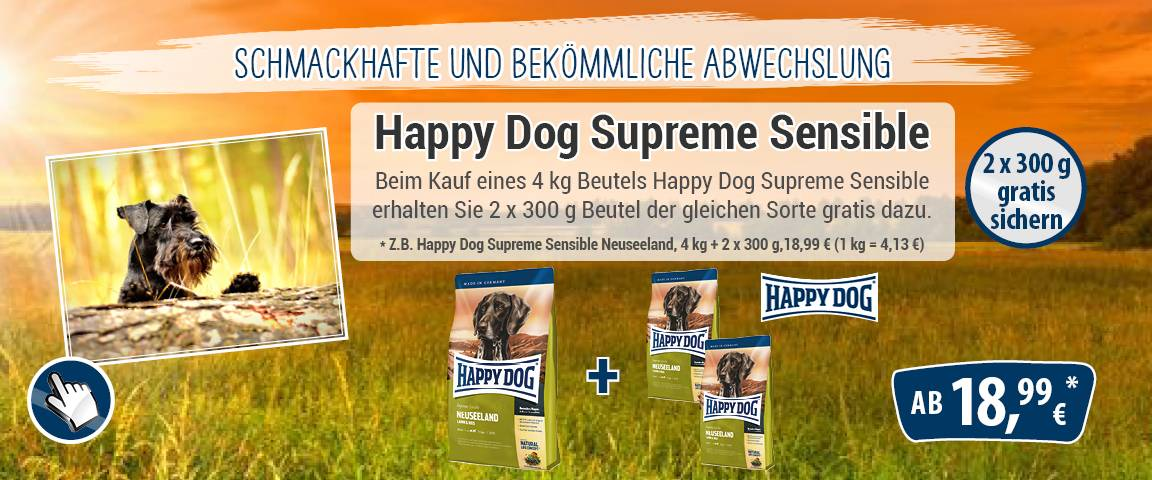 Happy Dog Supreme Sensible Neuseeland 4 kg + 2 x 300 g gratis